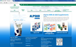 Awarded corporate and brands website of Ljubljanske mlekarne - brand homepage alpine milk