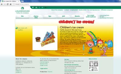Awarded corporate and brands website of Ljubljanske mlekarne - brand homepage childrens creams