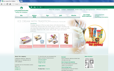 Awarded corporate and brands website of Ljubljanske mlekarne - brand homepage ice creams with tradition