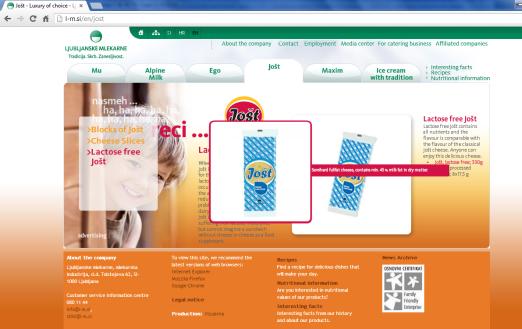Awarded corporate and brands website of Ljubljanske mlekarne - brand homepage jost product presentation