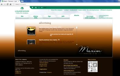 Awarded corporate and brands website of Ljubljanske mlekarne - brand homepage maxim landing page advertising