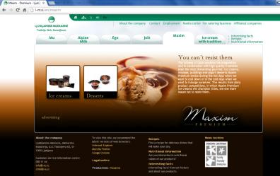 Awarded corporate and brands website of Ljubljanske mlekarne - brand homepage maxim