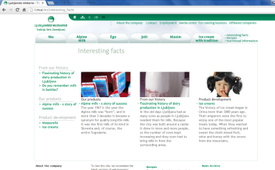 Awarded corporate and brands website of Ljubljanske mlekarne - corporate interesting facts