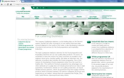 Awarded corporate and brands website of Ljubljanske mlekarne - corporate website catering business