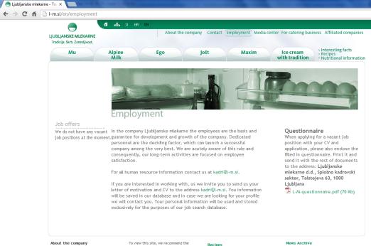Awarded corporate and brands website of Ljubljanske mlekarne - corporate website employment
