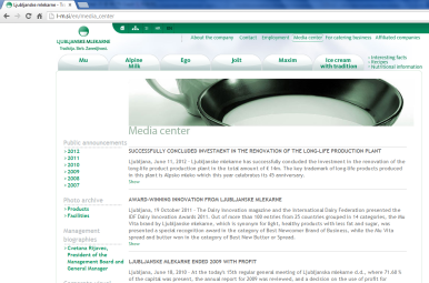 Awarded corporate and brands website of Ljubljanske mlekarne - corporate website media centre