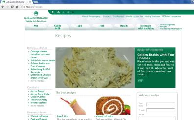Awarded corporate and brands website of Ljubljanske mlekarne - corporate website recipies