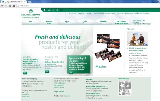 Awarded corporate and brands website of Ljubljanske mlekarne - homepage