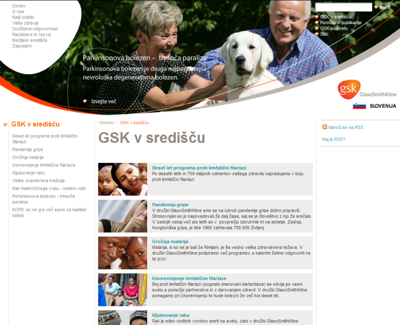 New corporate website in Slovene for the pharmaceutical company GSK - GSK in focus