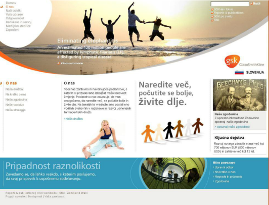 New corporate website in Slovene for the pharmaceutical company GSK - home page
