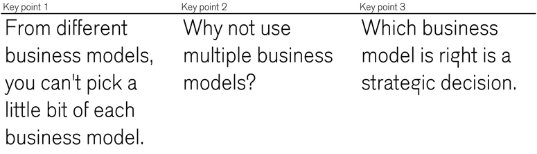 Three points to follow for use of business model canvas in larger organization - three points