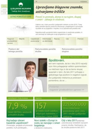 Interactive annual report Ljubljanske mlekarne - cover page - 2011 - Vizuarna - 365i