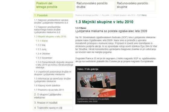 interactive annual report Ljubljanske mlekarne - milestones
