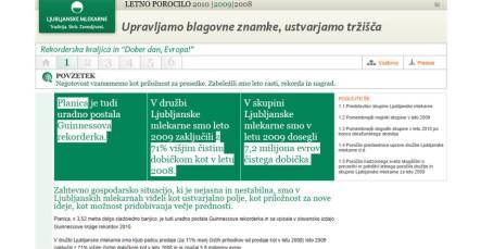 Interactive annual report Ljubljanske mlekarne - summary - 2008 - Vizuarna - 365i