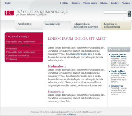 Web site templates for the Institute of Criminology at the Faculty of Law - content page 2