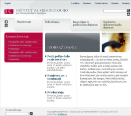Web site templates for the Institute of Criminology at the Faculty of Law - product page